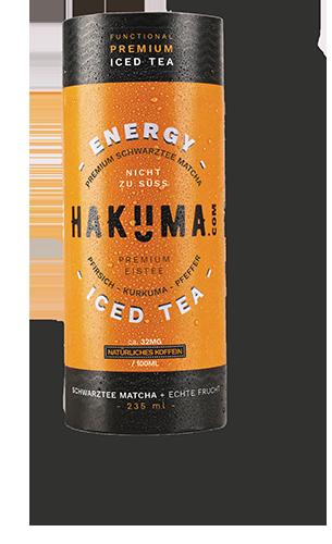 Hakuma energy svart te med färska persikor
